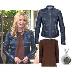 Emma Swan Blue Bomber Jacket, created by missmerfaery on Polyvore