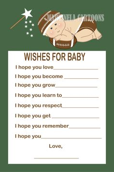 Football theme baby shower wishes, baby wishes game, Martinela Cartoons