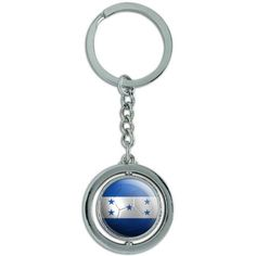 Honduras Flag Soccer Ball Futbol Football Spinning Round Metal Key Chain Keychain Ring, Silver