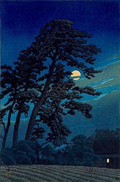 "Japanese Art Print ""Full Moon in Magome"" by Kawase Hasui. Shin Hanga and Art Reproductions http://www.amazon.com/dp/B00VCGF38A/ref=cm_sw_r_pi_dp_OsQvwb0RAH2CG"