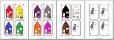 Bij de digibordles post: breng de postbode met zijn brief naar de goede huiskleur, kun je deze plaatjes uit de digibordles ook downloaden. http://digibordonderbouw.nl/index.php/themas/beroepen/postdigibordlessen/postwerkbladen