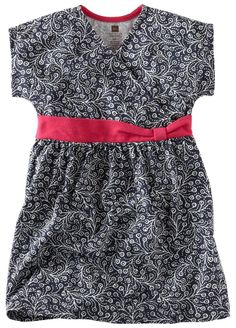 Tea Collection Painted Vines Knot Dress in color indigo with Camille pink trim from Bali spring 2012