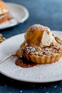 Apple & Walnut Crumble Tarts with Miso Butterscotch Ice Cream / Food styling / Food photography inspiration