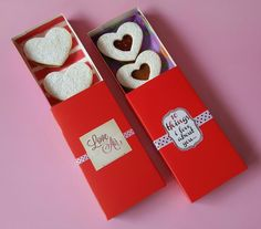 Gift boxes with alfajores. Valentines day.