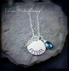 Forever angel tear necklace made with a stunning tear drop cut london blue topaz www.lissa73.etsy.com