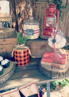 Rustic Christmas party dessert table!  See more party planning ideas at CatchMyParty.com!