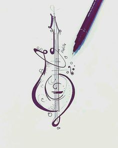 tatoos music drawings, guitar tattoo e tattoos. Tattoo Musik, Guitar Tattoo, Guitar Art, Guitar Doodle, Music Guitar, Guitar Drawing, Music Doodle, Compass Drawing, Guitar Sketch