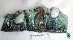 Grand Sea-horse Art Piece Bracelet / Cuff created by LynnParpard