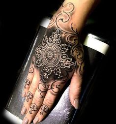 Ornamental Design On Girls Hand   Tattoo Ideas