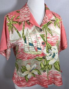 BAMBOO TRADERS LABEL, SILK BLOUSE Pink Hawaiian 12 Petite Tropical #BAMBOOTRADERS #Blouse