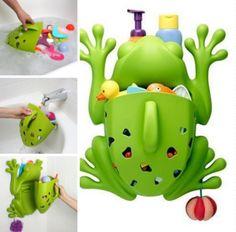 Para guardar los juguetes en el baño y evitar los resbalones.