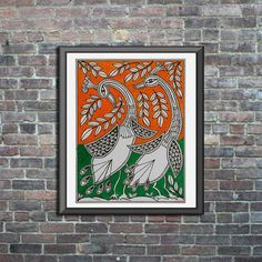 Found this gem on etsy for <$15 #etsy #madhubani #walldecoridea #folkart #originalart #artprint #indianart