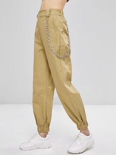 Chain Embellished Jogger Pants - Light Khaki S Cute Outfits With Leggings, Cute Skirt Outfits, Outfits Casual, Legging Outfits, Cute Outfits For School, Cute Winter Outfits, Cute Outfits For Kids, Outfits For Teens, Cool Outfits