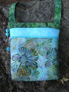 Blue and Green Floral Cross Body Bag Purse by Jackiesewingstudio