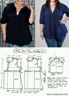 What About Amazing Easy Sewing Projects ? patron blusa plus sise Pattern of summer sleeveless m S media cache pinimg com tunics for women. Dress Sewing Patterns, Blouse Patterns, Sewing Patterns Free, Clothing Patterns, Blouse Designs, Make Your Own Clothes, Diy Clothes, Plus Sise, Sewing Blouses