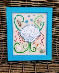 Cuadro marino 3D @chicocadeco #bordado #fieltro #pañolensi #cuadro3d #mar #chicocadeco #shell Frame, Home Decor, Sailor, Felting, Ornaments, Needlepoint, Picture Frame, Decoration Home, Room Decor