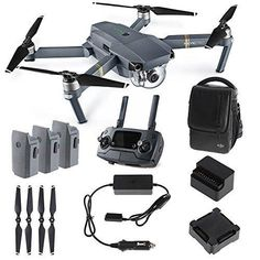 DJI Mavic PRO FLY MORE COMBO: Foldable Quadcopter Drone Kit with Remote 3 Batteries 16GB MicroSD Charging Hub Car Charger Power Bank Adapter Shoulder Bag