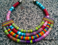 Ocean statement thread wrapped necklace rope necklace by Gydesi