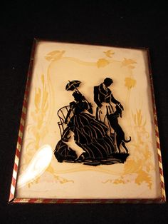 Antique 1920s Reverse Painted Domed Glass Silhouette Picture Couple w/ Dog