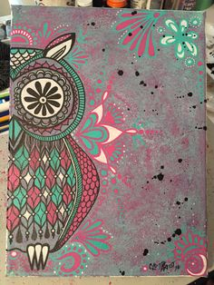 Abstract Owl on canvas/watercolor/paintmarkers/pink/teal/black/white/tribal/trippy/splatter by CLoTheArtist on Etsy