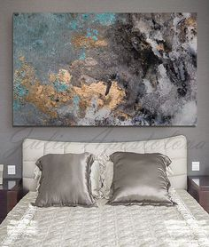 Abstract Watercolor, Print on Canvas Huge Wall Art, Large Watercolor Art PRINT, Large Watercolor Painting, Gold Leaf Print Black Teal - Wandkunst Watercolor Paintings Abstract, Watercolor Print, Abstract Art, Painting Canvas, Painting Walls, Large Painting, Leaf Paintings, Canvas Art, Watercolor Ideas