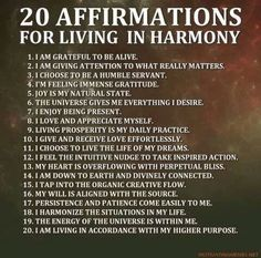 20 affirmations for living in harmony