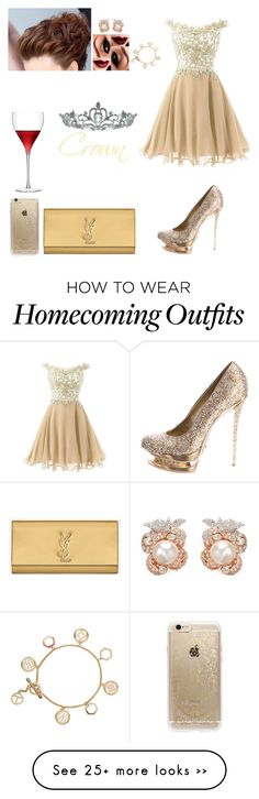 """PROM"" by mirellynathalia on Polyvore featuring Gianmarco Lorenzi, Yves Saint Laurent, LSA International, Tory Burch, Anabela Chan, Rifle Paper Co and Kate Marie"