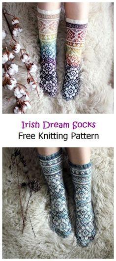 Knitting Basics, Knitting Stitches, Free Knitting, Knitting Projects, Knitting Socks, Knitting Ideas, Knit Socks, Two Color Knitting Patterns, Sewing Patterns