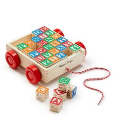 Classic ABC Block Cart #zulily #zulilyfinds letter blocks, and a cool cart to put them in and pull. $12