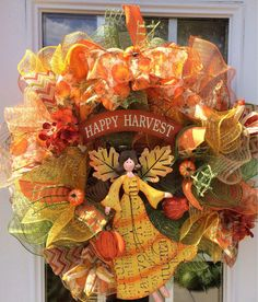 Scarecrow Mesh Wreath, Fall Deco Mesh from ShellysChicDesigns on