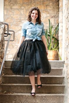 The Adored Life - Tulle Skirt with Chambray for Fall
