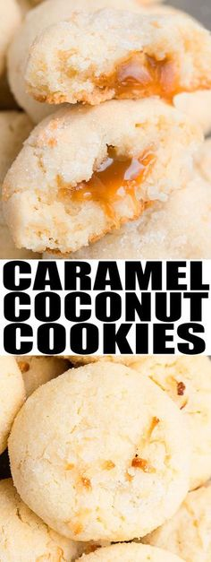 Quick and easy COCONUT COOKIES recipe, made with simple ingredients. These crispy, chewy coconut cookies with caramel center are great for cookie exchanges and the Christmas holiday season. {Ad} From cakewhiz.com #cookies #caramel #dessert
