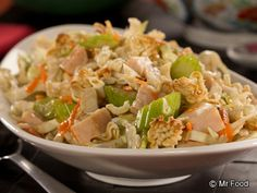 If you're a cabbage lover and need a great diabetic recipe to use up leftover turkey, then this recipe is sure to catch your attention. Our Asian Turkey Cabbage Slaw topped off with crunchy ramen noodles is simply delicious. Healthy Coleslaw Recipes, Healthy Recipes For Diabetics, Diabetic Recipes, Cooking Recipes, Diabetic Foods, Cooking Pork, Vegetarian Recipes, Deli Salad Recipe, Suddenly Salad