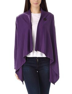 Bepei Women One Button Wrap-Style Cardigan Purple S