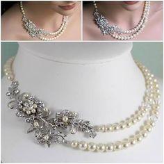 Vintage pearl bridal necklace AF141-VintageBridalAccessories
