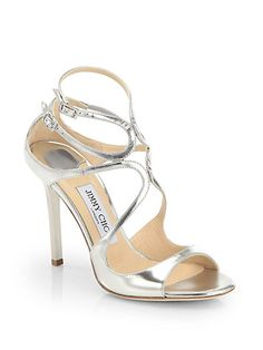 Jimmy Choo - Lang Strappy Mirror Leather Sandals - Saks.com
