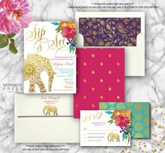 Sip And See Invitations, Baby Sprinkle Invitations, Bridal Shower Invitations, Boho Baby Shower, Baby Shower Themes, Orange And Purple, Pink, New Baby Girls, Jaipur
