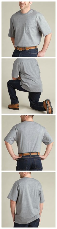 """Need tall T-shirts or long shirts to cover your keister? Meet the Longtail T Shirt. Built 3"""" longer, it has Plumber's Butt fixed! Grab a Longtail T Shirt today!"""