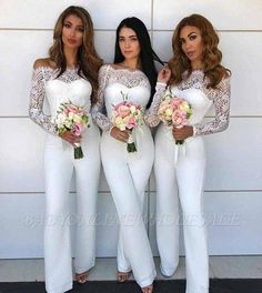 custom made this long sleeves off shoulder bridesmaid pants evening dress, we sell dresses online all over the world. Also, extra discount are offered to our customers. We will try our best to satisfy everyone and make the dress fit you we Lace Bridesmaid Dresses, Wedding Party Dresses, Wedding Bridesmaids, Bridesmaid Jumpsuits, Bridesmaid Outfit, Party Gowns, Wedding Guest Pants, White Jumpsuit Formal, White Lace Jumpsuit