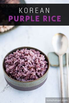Korean Purple Rice or Black Rice (Heukmi Bap) Korean Purple Rice usually refers to Korean rice that is cooked with black rice which gives it the pretty purple color. Besides giving the rice this beautiful purple hue, black rice adds extra nutty flavor and Rice Recipes, Asian Recipes, Cooking Recipes, Healthy Recipes, Cooking Tips, Cooking Bacon, Healthy Cooking, Recipies, Arabic Recipes
