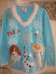 WOMENS GAUDY CHRISTMAS SWEATER FROZEN OLAF PRINCESS BLING Foofu PARTY SZ L #quakerfactory #VNeck