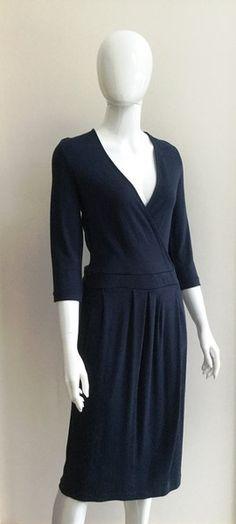 Jaeger Rebecca Jersey Wrap Dress in Navy Wrap Dresses, Dresses For Work, High Neck Dress, Navy, Collection, Tops, Fashion, Turtleneck Dress, Hale Navy