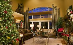 Living Room : Over Valance With Brown Vinyl Sofa Also Sweet Christmas Tree As Inspiring And Open Floor Christmas Living Room Decor Interior Designs Besides Brown Rug Table Lamp Pendant Lamp Cristmas Enjoying Christmas Festivities In Living Room Big Christmas Tree. Small Living Room Christmas Decorating Ideas. Neutral Colour Harmoniously.