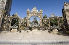 Nancy (Meurthe-et-Moselle, Lorraine, France) - Ancient fountains and gate in Stanislas Square