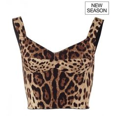 Dolce & Gabbana Brown silk leopard print bralet top ($790) ❤ liked on Polyvore featuring tops, white silk top, bralette tops, crop top, white bralette tops and bralet tops