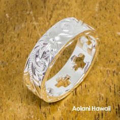 Hawaiian Jewelry Ring - Hand Engraved Sterling Silver Flat Ring (6mm width, Flat style)
