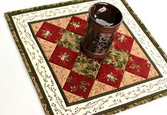 Christmas Quilted Table Topper Red Green Candle Mat Table