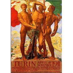 Trademark Fine Art Turin 1911 inch Canvas Art by Adolfo Carolis, Size: 36 x 48, Multicolor