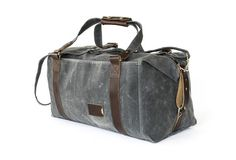 Personalized Duffle Bag, Slate Gray Waxed Canvas
