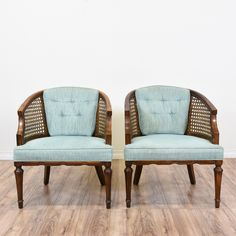 Pair Of Cane Back Barrel Chairs